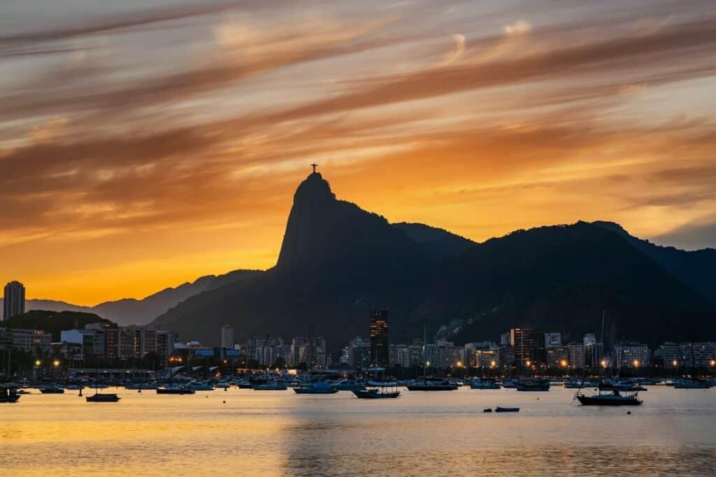 Beautiful panorama of Rio de Janeiro at twilight, Brazil. Corcovado