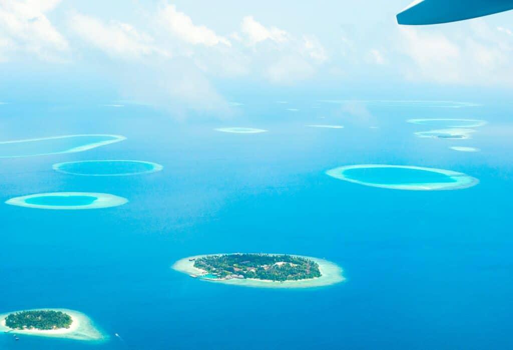 Maldives resorts aerial photo