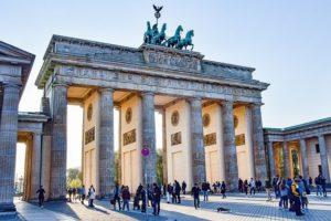 front of the brandenburg gate in Berlin