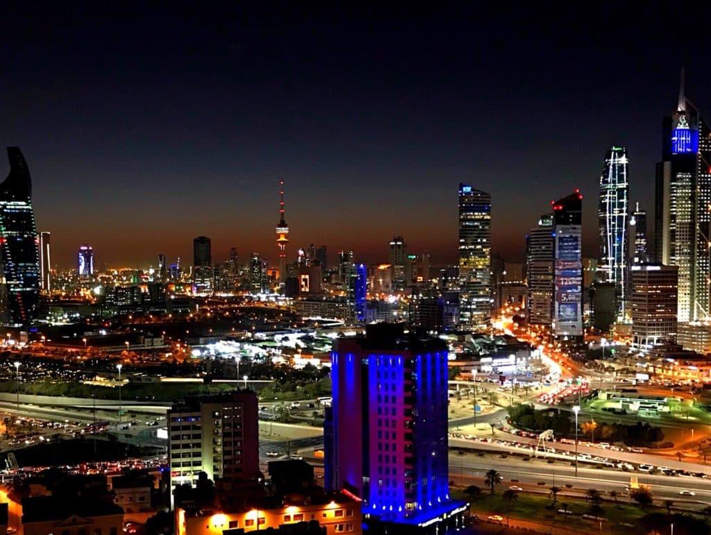 Skyline of Kuwait City by night