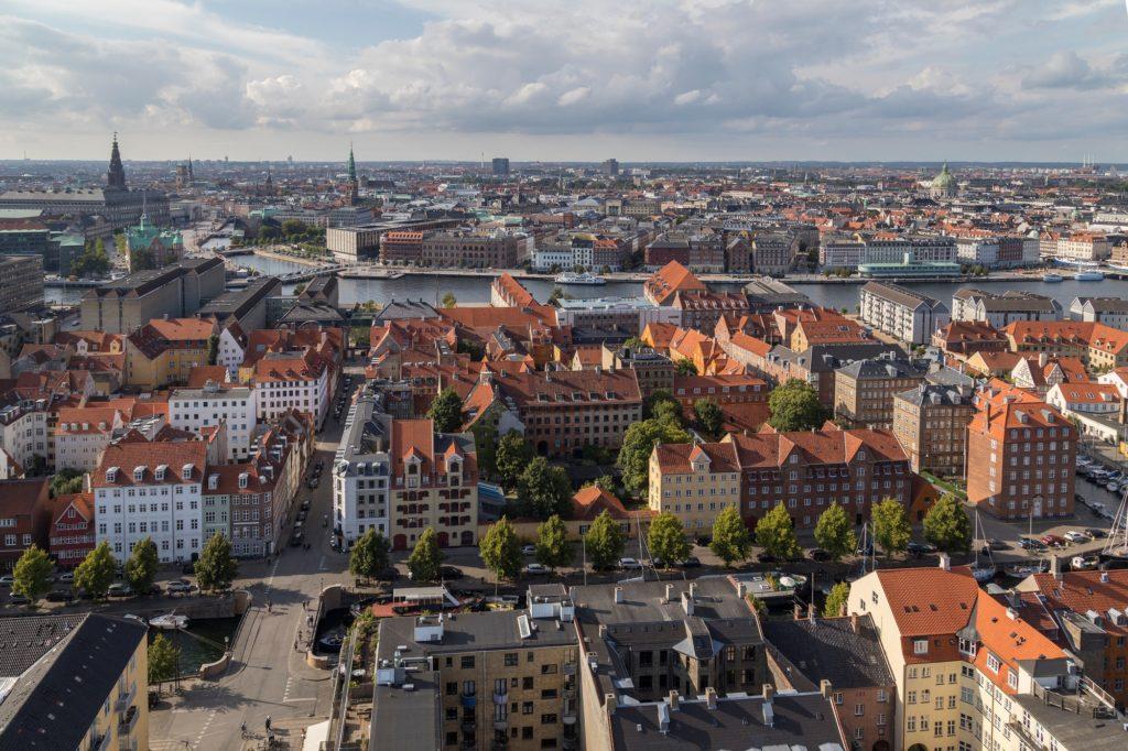 High level view of Copenhagen, the capital city of Denmark.